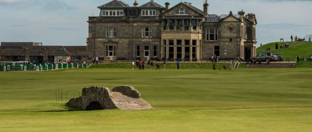 Iconic Open Championship Old Course in St. Andrews with bridge over Swilcan Burn in 2012