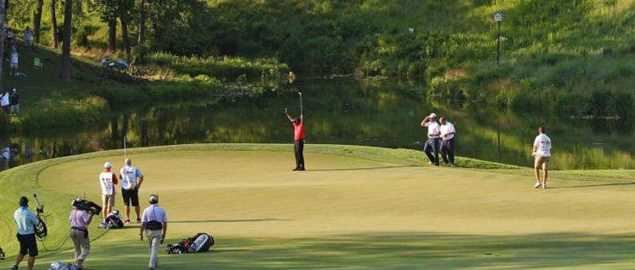 Tiger Woods sealing his 74th all-time PGA tour victory at the AT&T National in 2012