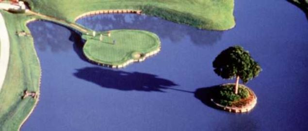 The famous 17th hole at the TPC Sawgrass golf course home to The Players tournament